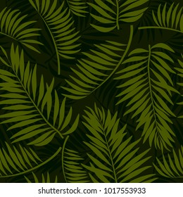 Tropical summer seamless pattern with leaves (palm, banana), floral background print, vector illustration