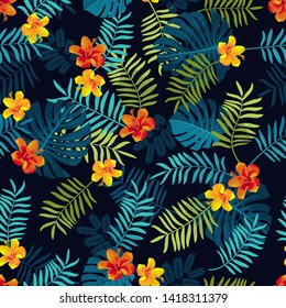 Tropical Summer seamless pattern with monstera leaves and hibiscus flowers. Bright jungle seamless background. Vivid optimistic juicy colors. Repeat pattern backdrop. Editable vector, clipping mask