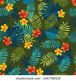 Tropical Summer seamless pattern with monstera leaves and hibiscus flowers. Bright jungle seamless background. Vivid optimistic juicy colors. Hawaiian Luau party backdrop. Editable vector illustration