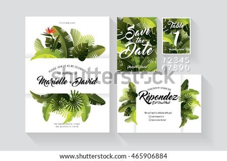 tropical summer wedding invitation card save のベクター画像素材