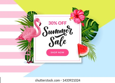 Tropical summer white frame on colorful background. Vector discount, sale banner, flyer, poster template. Cartoon illustration of pink flamingo, palm leaves, hand drawn calligraphy lettering.