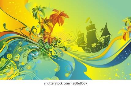 tropical summer,modern abstract vector design