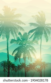 Tropical sunrise with green and yellow gradient sun and silhouette of palm trees, soaring birds and mountains in the background of blue sky