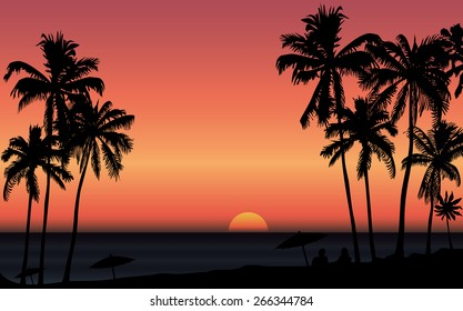 Tropical sunrise at seashore with palms and silhouette of couple. Vector illustration