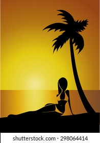 Tropical Sunset with Girl silhouette under the palm tree, vector illustration