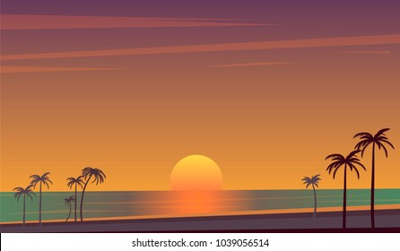 Tropical sunset over coast with palms vector illustration. seascape, clouds and sun