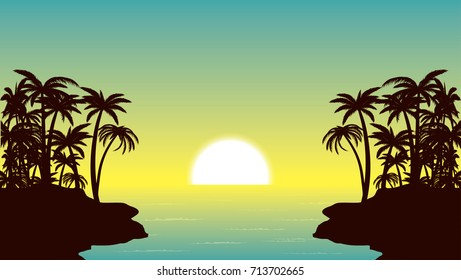 tropical sunset and palm island vector illustration