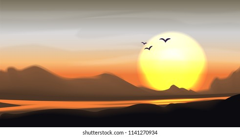 Tropical sunset and sundown vector landscape. Mountain panorama with river, palm and hills. Calm vector mountain savanna valley illustration, bright sun and tropic trees. Mountain valley landscape
