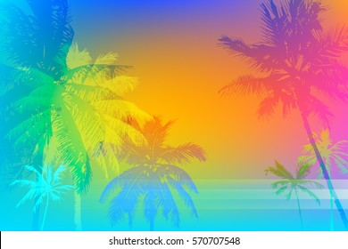 Tropical sunset or tropical sunrise on palm beach, can be used for a poster,web or printing on fabric
