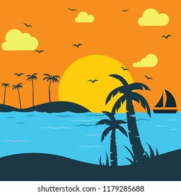 A Tropical Sunset, Sunrise with Palm Trees. Vector illustration. Beautiful tropical seascape with a sunrise
