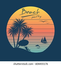 tropical sunset. surf and beach. vintage beach print. graphic design vector illustration.