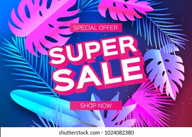 Tropical Super Sale Banne. Palm leaves, plants. Exotic Paper cut art. Hawaiian. Text. Origami Monstera jungle floral background. Special offer. Poster, Flyer, voucher discount.
