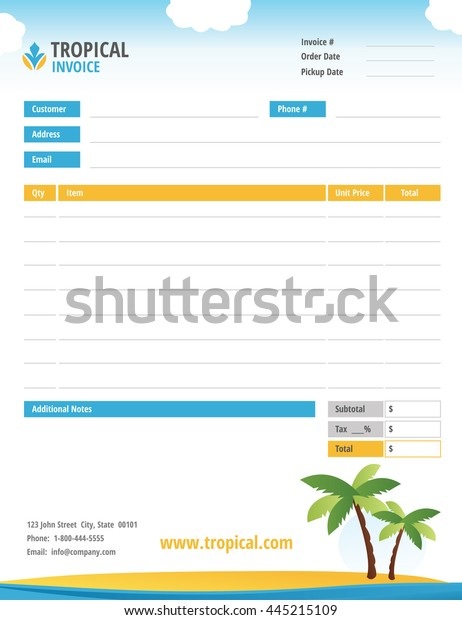 Tropical Theme Blank Invoice