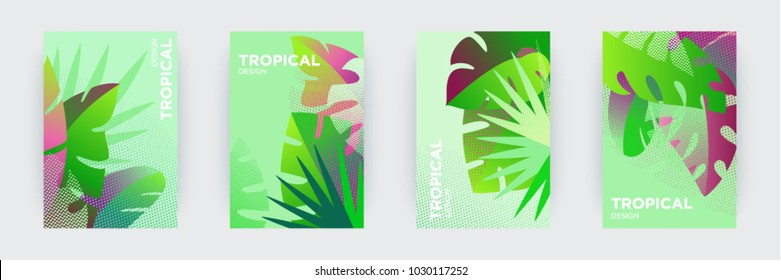 Tropical themed creative covers set.  Colorful compositions of palm leaves and halftone patterns. Geometric design templates with place for text. Flat style vector illustration