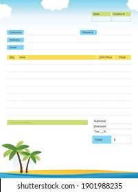 Tropical Themed Invoice with Palm Trees