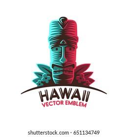 Tropical Tiki mask. Logo, label. Vector