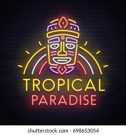 Tropical Tiki mask neon sign. Neon sign, bright signboard, light banner.