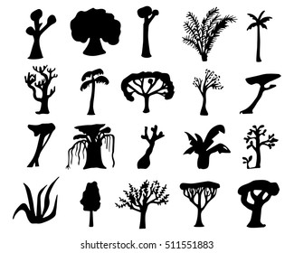 Tropical trees hand-drawn silhouettes. Black silhouettes of exotic plants. Nature silhouette isolated. Hand-drawn vector illustration of jungle tree. Oak tree, coco palm tree, sequoia, banyan, bamboo