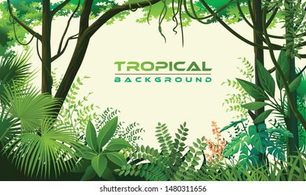 Tropical trees, plants, herbs and shrubs