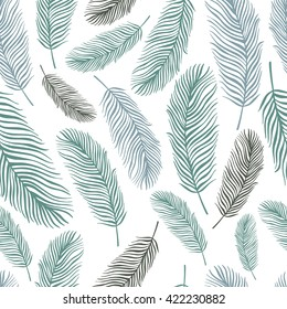 Tropical trendy seamless pattern with exotic palm leaves