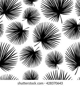 Tropical trendy seamless pattern with exotic palm leaves. Vector.