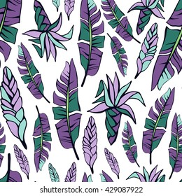 Tropical trendy seamless pattern with exotic leaves