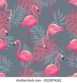 Tropical trendy seamless pattern with pink flamingos and mint green palm leaves. Exotic Hawaii art background. Design for fabric and decor.