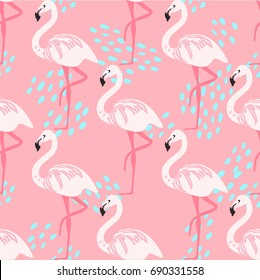 Tropical trendy seamless pattern with pink flamingos. Design for fabric, wallpaper, textile and decor. Paradise. Beach pattern. Hawaii. Tropical bird