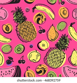 tropical tropic pattern vector fruit seamless pop art print