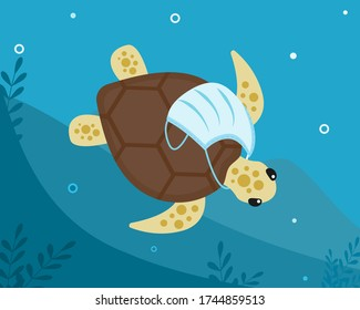Tropical turtle with medical surgical protective face mask around its neck floats along bottom of ocean. Water pollution. Consequence of excessive use, overconsumption . Vector flat illustration.