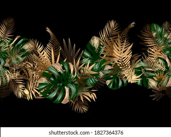 Tropical unusual color leaves. Seamless pattern border frame with vector image. Jungalow style. Botanical theme. Fabulous tropical wallpapers and backgrounds