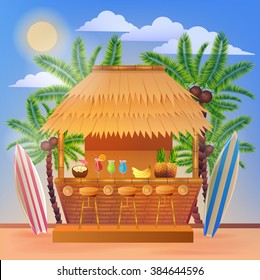 Tropical Vacation Banner with Beach Bar and Palm Trees. Vector illustration for summertime