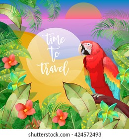 Tropical Vacation Banner. Exotic Island. Beach Exotic Parrot. Wild Nature Background. Vector illustration
