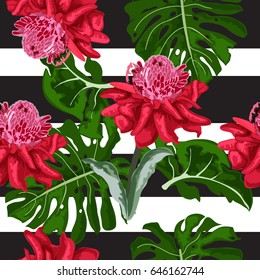 Tropical vector background with elements in the style of watercolor imitation. Detailed composition. Seamless pattern.