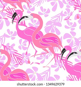 Tropical vector background with pink flamingo and exotic flowers. Hand drawn animalistic seamless pattern.