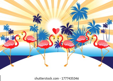 Tropical vector background with red flamingos and palm trees. Design for advertising exotic holidays in the tropics.