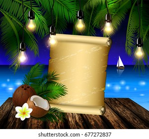 tropical vector background with scroll paper blank leaves of palm trees summer night sky patio lightss exotic cocnut on palm leaves and wooden deck vector