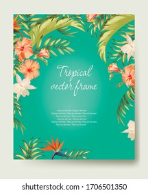 Tropical vector banner with palm leaves and hibiscus flowers. Botanical frame for cover, web, invitation design.