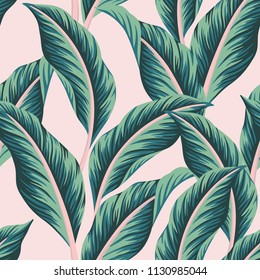 Tropical  vector green palm leaves floral pink background seamless pattern. Exotic jungle wallpaper.