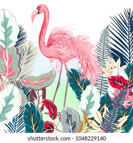 Tropical vector illustration with pink flamingo and tropical leafs