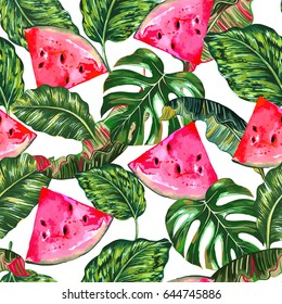 Tropical vector illustration with watermelons, jungle leaves, monstera leaf seamless floral pattern. Summer natural background