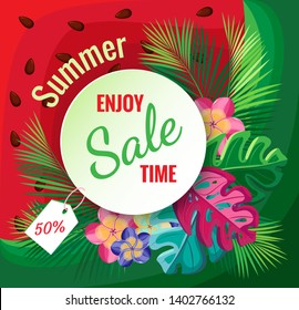 Tropical vector Image Summer enjoy sale time. On watermelon background