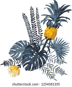 Tropical vector isolated print of monstera leaves,palm foliage, protea flower and yellow pineapple.Bright jungle illustration for t-shirt,textiles,fabric design,gift wrapping.All elements are editable