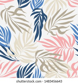 Tropical vector palm leaves pattern. Handdrawn background in pastel colours.