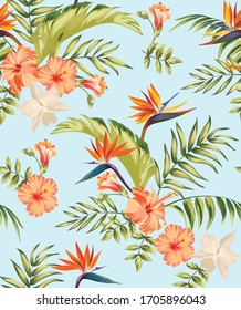 Tropical vector pattern with hibiscus, orchid, palm leaves.Exotic style. Seamless botanical print for textile, print, fabric on dark background