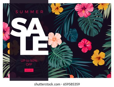 Tropical vector sale design with bright hibiscus flowers and exotic palm leaves on dark background.