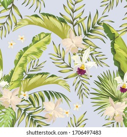 Tropical vector seamless background. Jungle pattern with exitic flowers, and palm leaves. Stock vector. Jungle vector vintage wallpaper