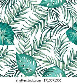 Tropical vector seamless background. Jungle pattern with exitic foliage, and palm leaves. Stock vector. Jungle vector vintage