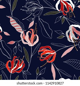 f5211e0f59d3 Tropical vector seamless flower and leaves pattern. Exotic background.  Wallpaper. Blooming realistic isolated