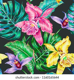 Tropical vector seamless pattern background with exotic flowers, jungle leaves, orchid flower. Botanical illustration in vintage style